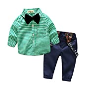 Top and Top 2 Pieces Baby Boys Long Sleeve Plaid Shirt Overalls Set With Bow (70/0-6 Months, Green)