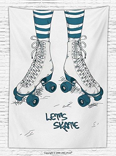 1960s Decor Fleece Throw Blanket Illustration with Girls Legs in Stripes Stockings and Retro Roller Skates Fun Teen Image Throw Blanket