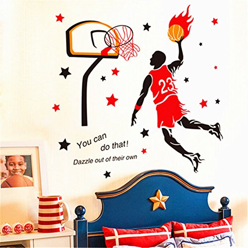Player Wall Decal - Inspiration DIY 3D Basketball Wall Decal-Sports Decals Basketball Player Wall Stickers Basketball Wall Decals for Boys Room Bedroom Living Room