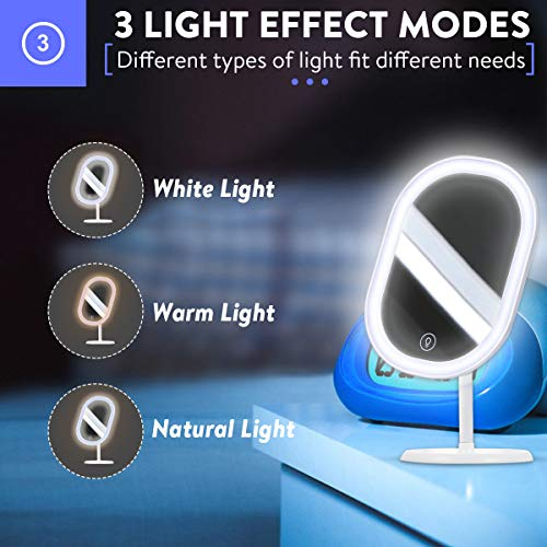 Makeup Mirror with LEDs-3 Colors of Light , Rechargeable Portable Vanity Mirror with Touch Screen Switch 180 Rotation Detachable Cosmetic Beauty
