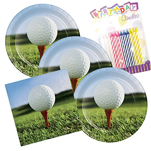 - JJ Party Supplies Sports Fanatic Golf Theme Plates and Napkins Serves 16 With Birthday Candles