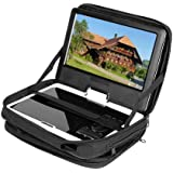 """New Black 9.5"""" Portable DVD Player Case Carry Bag with Strap for Car Headrest Mount"""