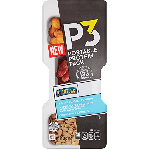 Planters P3 Portable Protein Pack, Honey Roasted Peanuts/Maple Glazed Ham Jerky/Sunflower Kernels, 1.8 Ounce-6 Pack