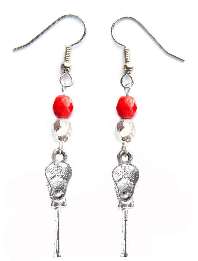 ''Lacrosse Stick & Ball'' Lacrosse Earrings (Team Colors Red & Silver)