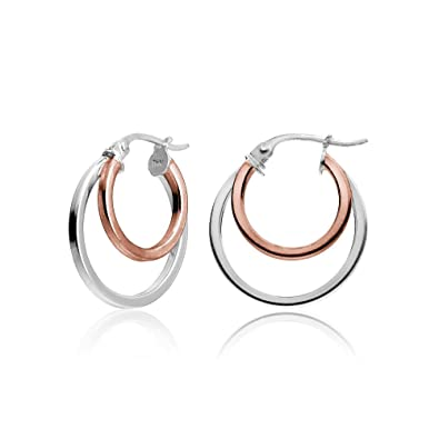 31f301d3b Hoops & Loops Rose Gold Flash Sterling Silver Two-Tone Double Circle  Round-Tube