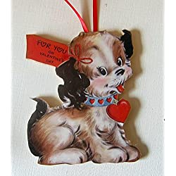 Playful Puppy Valentine Handcrafted Wooden Ornament, Mid-Century Modern, Dog Lover Gift, Cocker Spaniel Magnet Pin, Dog Collar, 1950s Card