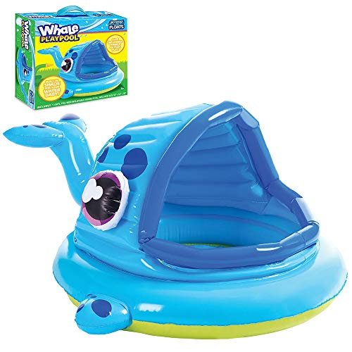 Whale Pool with Shade is a nice backyard water toy for babies and toddlers