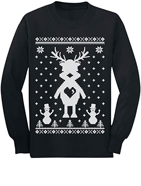 Reindeer Ugly Christmas Sweater Style , Cute Long Sleeve Kids T,Shirt