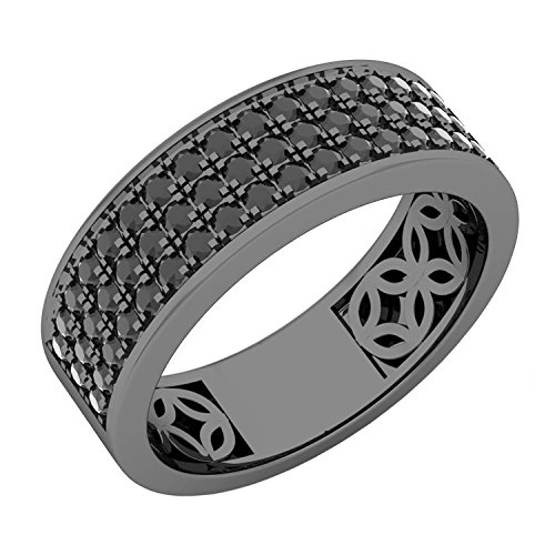 Dazzlingrock Collection 1.25 Carat (ctw) Black Plated Sterling Silver Black Diamond Men's Wedding Band 1 1/4 CT, Size 9 ()