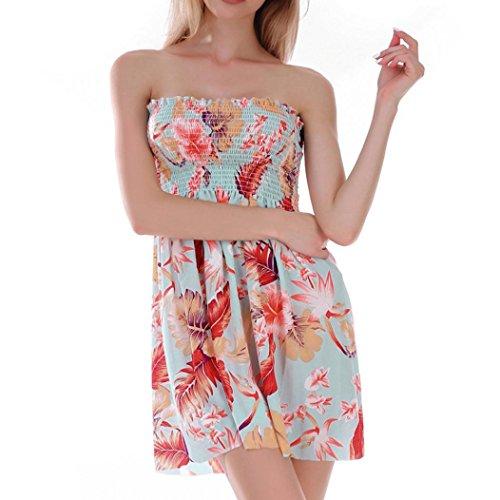 Vestido Mujeres Fiesta de Mangas Vestido Verano de Impresión Chaleco Vestir DOGZI Retro Playa Rojo Niña Ropa de Mujer Playa Casual Camisetas Falda Vestido Vestido de de sin Mini 1wIx6qWO