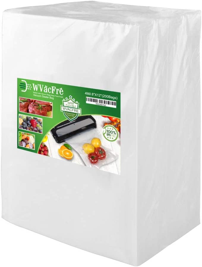 WVacFre 200 Quart Size 8x12Inch 4mil Food Saver Vacuum Sealer Bags with Commercial Grade,BPA Free,Heavy Duty,Great for Food Vac Storage or Sous Vide Cooking