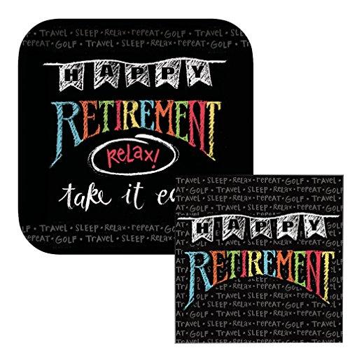Retirement Chalk Themed Dessert Napkins & Plates Party Kit for 8