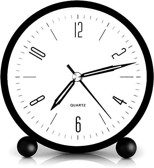 HeQiao Silent Metal Analog Table Alarm Clock with Night Light Cream White