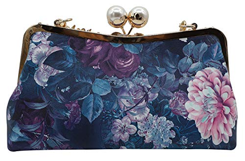 Clutch Blueflowers Evening Lovful Wedding Bag Purse Sequined Handbag Party Women's Print Style x4qCUz