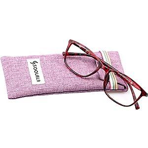 SOOLALA Lightweight TR90 Full Frame Oversized Clear Lens Eyeglasses Reading Glasses, WineRed, +1.0D