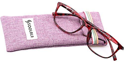SOOLALA Lightweight TR90 Full Frame Oversized Clear Lens Eyeglasses Reading Glasses, WineRed, - Buy Lens To Where Clear Glasses