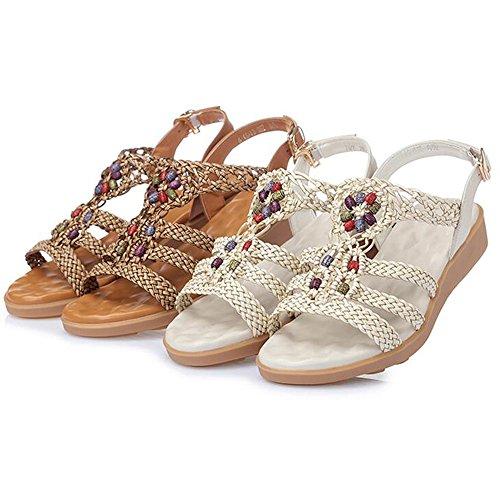 flache weichen flache Schuhe große Ferse Größe Schuhe Sandalen Boden Größe optional Xiaolin Leder Student Sommer p8qExt4w