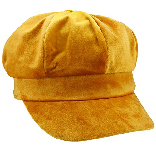 moonsix Newsboy Hat,Plain Cabbie Visor Beret Gatsby Ivy Caps for Women,Yellow(Velvet)