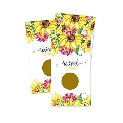 (Sunflower Scratch Off Game Cards for Bridal Celebrations, Baby Shower or Party (28 Pack))