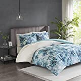 Madison Park Enza 3 Piece Cotton Printed Duvet Cover Set Teal Full/Queen