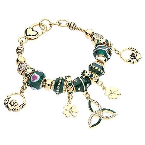 Rosemarie Collections Women's Gold Tone Irish Triquetra Glass Bead Bracelet