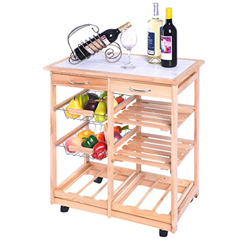 new-rolling-wood-kitchen-trolley-cart-dining-storage-drawers-stand-durable