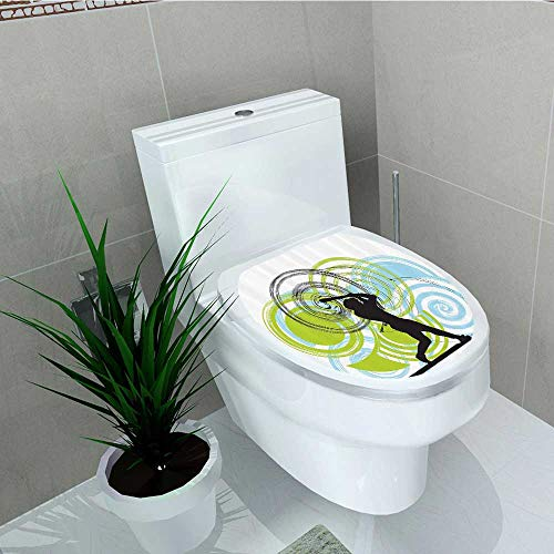 Printsonne Toilet Seat Decal Vinyl Baseball Player Figure Rounds Circles His Wild Pitch Win Do It Decal Sticker Toilet Decoration W13 x L16