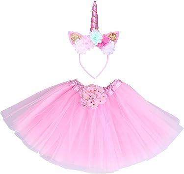 Toyvian Disfraz de Unicornio para Niñas Diadema de Flores con ...