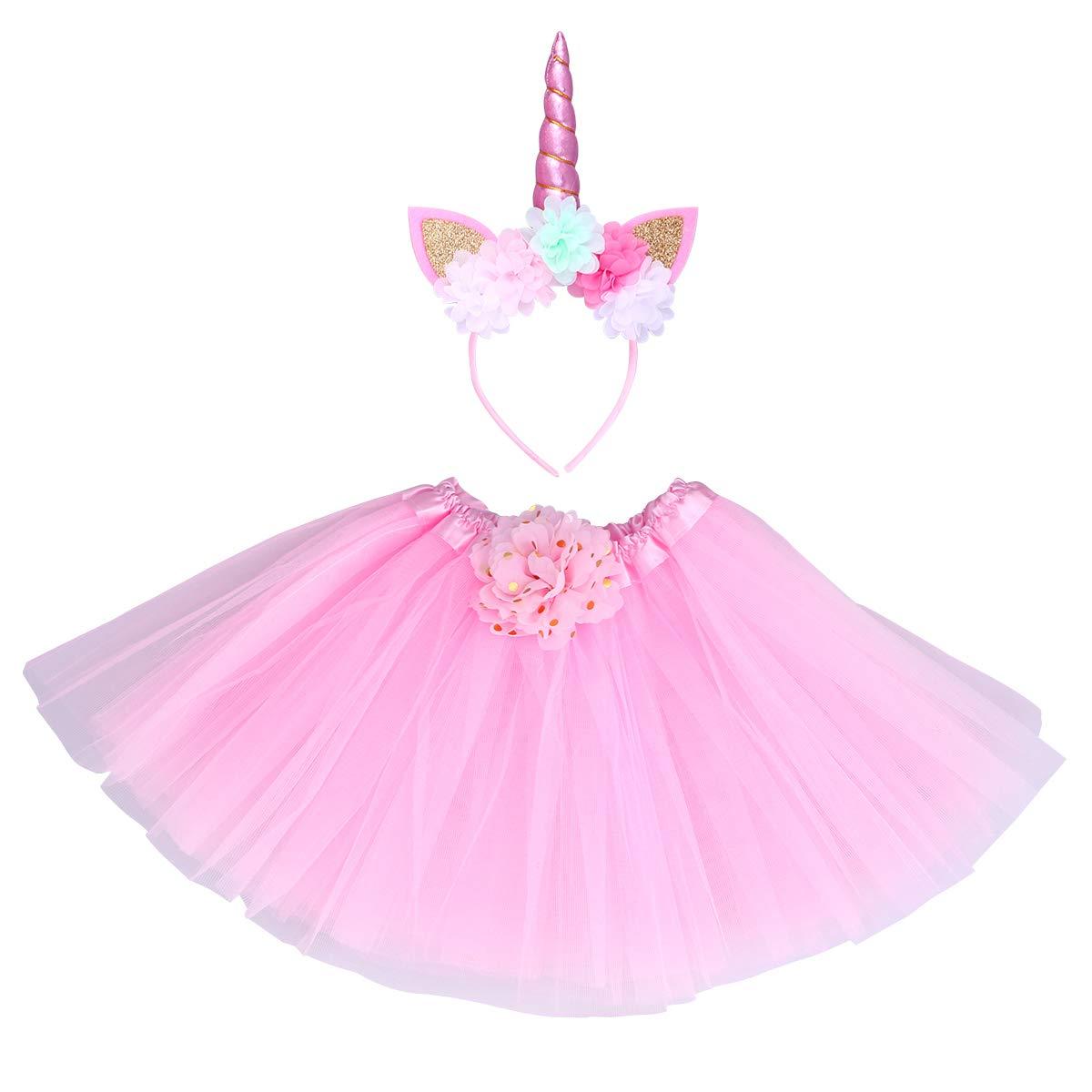 achat Toyvian Costume Licorne Fille Serre Tête Fleurs Oreille Corne Licorne Paillettes Jupe Tutu avec Fleur Rose Déguisement Licorne Fille pour Fete Anniversaire Enfants Rose pas cher prix