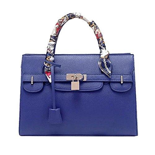 Tisdaini Dama bolso de mano PU piel Moda grande capacidad bolso bandolera Chica Moda bolso Azul Oscuro Grande
