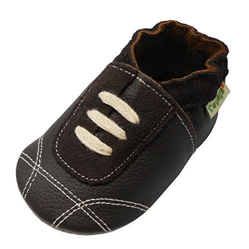 Smooth Kids Shoes Dark Brown (Sayoyo Baby Sneakers Leather Baby Shoes Crib Shoes Toddler Soft Sole Sneakers (18-24 Months, Dark Brown))