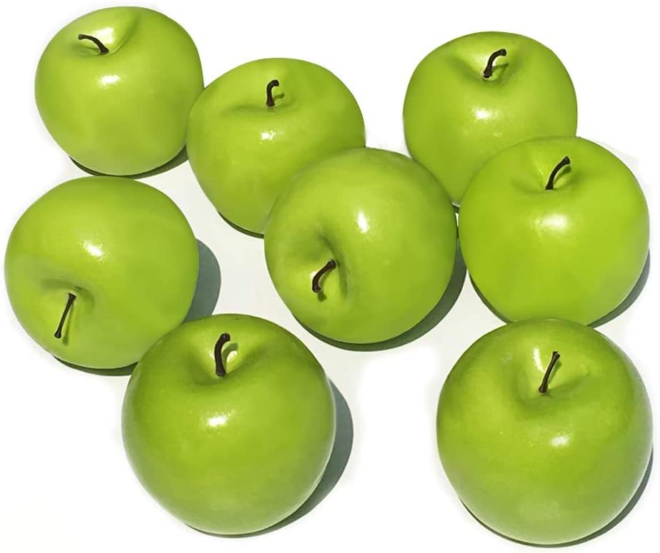 Fake Fruit Artificial Apples for Home Kitchen Table Basket Decoration 8pcs (Green Apples)