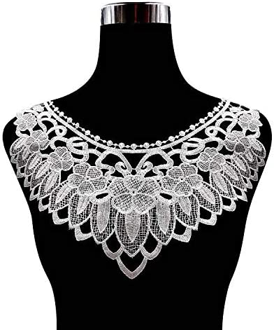 1pc Embroidery Round Ripple Neck African Lace Fabric Collar,DIY Handmade Lace Fabrics for Sewing Crafts White