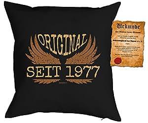 Cojín con relleno–Original desde 1977–con gratis Escrituras–Regalo de cumpleaños–Coole regalo Idea–Sofá Cojín, almohada–Negro