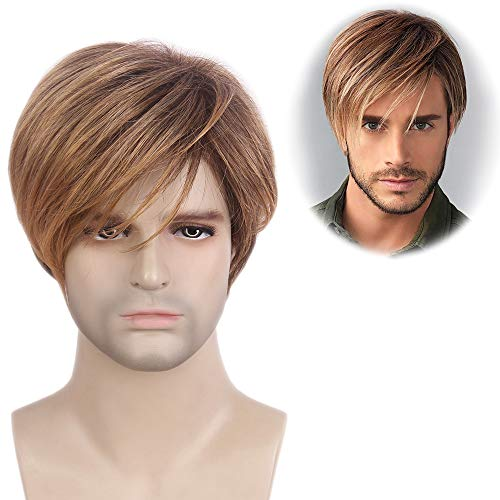 STfantasy Mens Wig Ombre Blonde Brown Short Straight