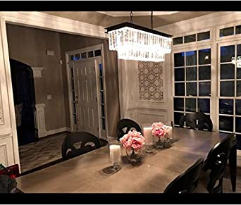 CRYSTOP Rectangle Crystal Chandeliers Dining Room Modern Ceiling Light Fixtures Polished Chrome Finish L31.5 x W9.8 x H8.9