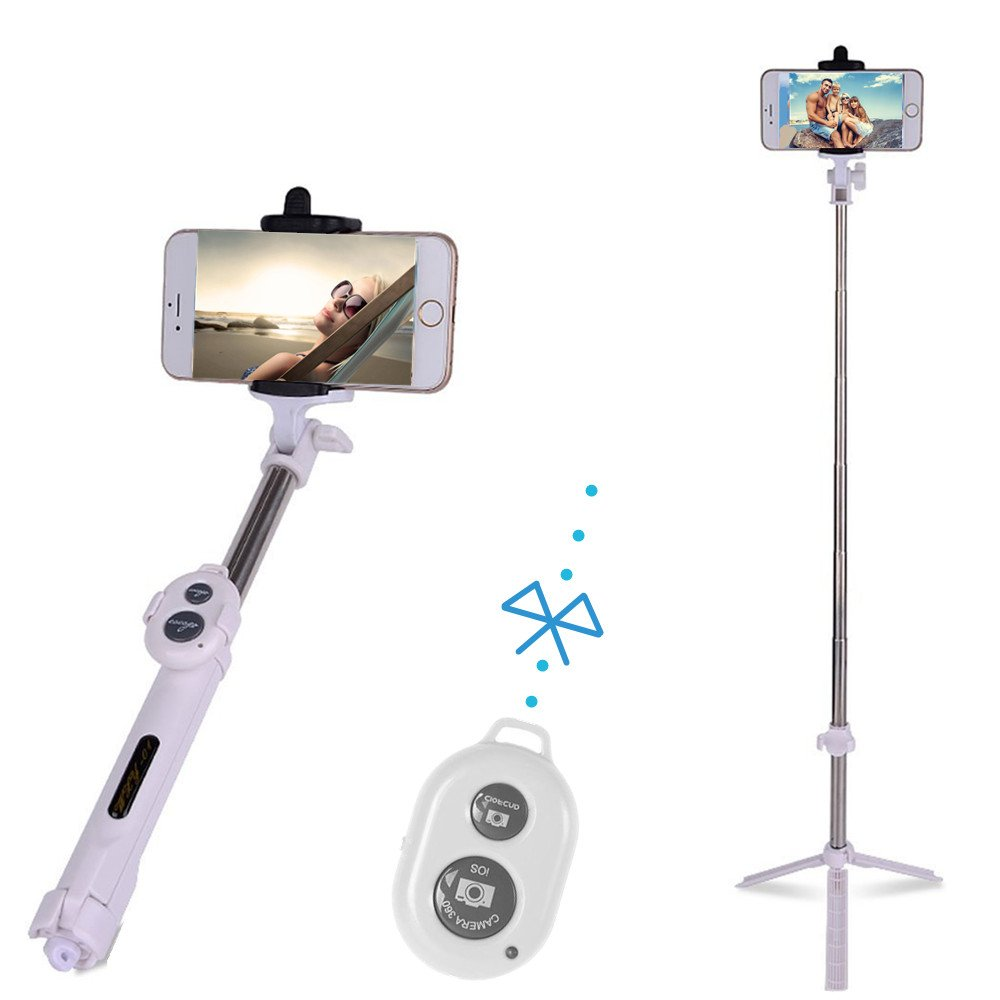 JDHDL Bluetooth Selfie Stick with Foldable Tripod Stand and Bluetooth Remote for Group Photos and Prevents Shakiness Fits Apple iPhone iOS, Samsung Galaxy, Android, and More (White)
