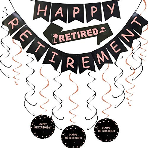 Happy Retirement Party Decorations Kit - Rose Gold Happy Retirement Banner & Hanging Swirls and Im Retired Retired Sash Women Retirement Party Decorations Supplies