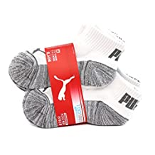 PUMA Boy's COOL CELL Quarter Crew Low Cut Socks, 6 Pairs, Shoe Size 9-3.5, White