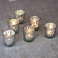 Luna Bazaar Vintage Mercury Glass Candle Holders (2.5-Inch, Lila Design, Liquid Motif, Silver, Set of 6) - for Use with Tea Lights - for Parties, Weddings, and Homes