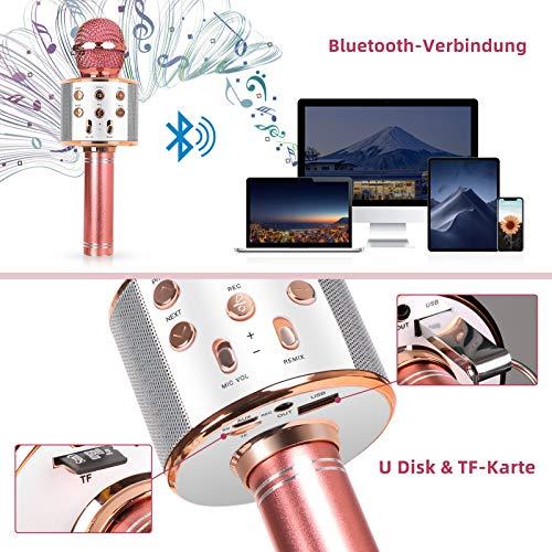 MAEXUS Karaoke Mikrofon Kinder, Bluetooth Karaoke Mikrofon mit Lautsprecher Drahtloses Bluetooth Mikrofon für Kinder Karaoke Mikrofon für iPhone/Android/iPad/PC/U-Disk/TF-Karte, Rose Gold