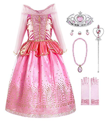Okidokiyo Little Girls Princess Aurora Costume Halloween Party Dress Up (Long Sleeve with Accessories, 5-6 Years) from Okidokiyo