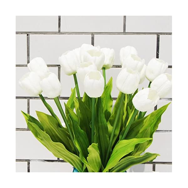 Floral Kingdom XLarge 26″ Real Touch Tulips for centerpieces, Bouquets, Floral Arrangements (Pack of 5) (White)