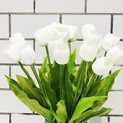 Long XLarge Latex Handmade Real Touch Tulips Artificial Spring Flowers (Pack of 5) (Milky White) ()