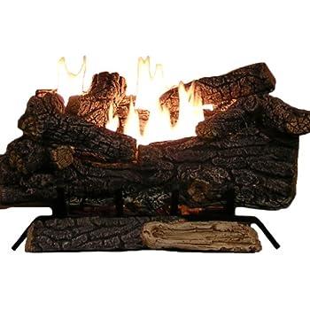 Sure Heat Riverside Oak Vent Free Dual Burner Log Set for Liquid Propane Fueled Fireplace, 24-Inch