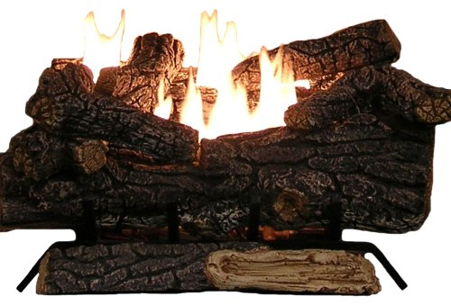 Sure Heat Riverside Oak Vent Free Dual Burner Log Set for Liquid Propane Fueled Fireplace, 24-Inch