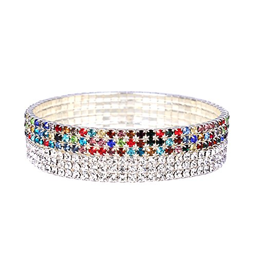 NASAMA 2pcs 3 Row Women Crystal Rhinestone Stretchy Elastic Tennis Anklet Charm Sexy jewelry (Silver+colorful) ()