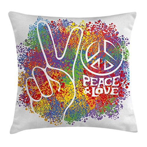 Ambesonne 70s Party Throw Pillow Cushion Cover, Hippie Peace and Love and Signs 2 Fingers Pacifist Colorful Design Art, Decorative Square Accent Pillow Case, 16
