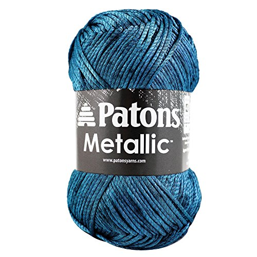 Patons Metallic Yarn - Medium Gauge #4 - 3 oz - Blue Steel - For Crochet, Knitting & (Metallic Crochet)