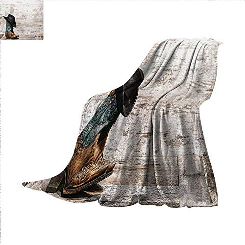 Western Digital Printing Blanket Traditional Rodeo Cowboy Hat and Cowgirl Boots Retro Grunge Background Art Photo Summer Quilt Comforter 62 x 60 inch Brown -
